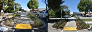 commercial building landscape renovation before and after